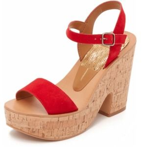 Dolce Vita Red Randi Suede Cork Wedges